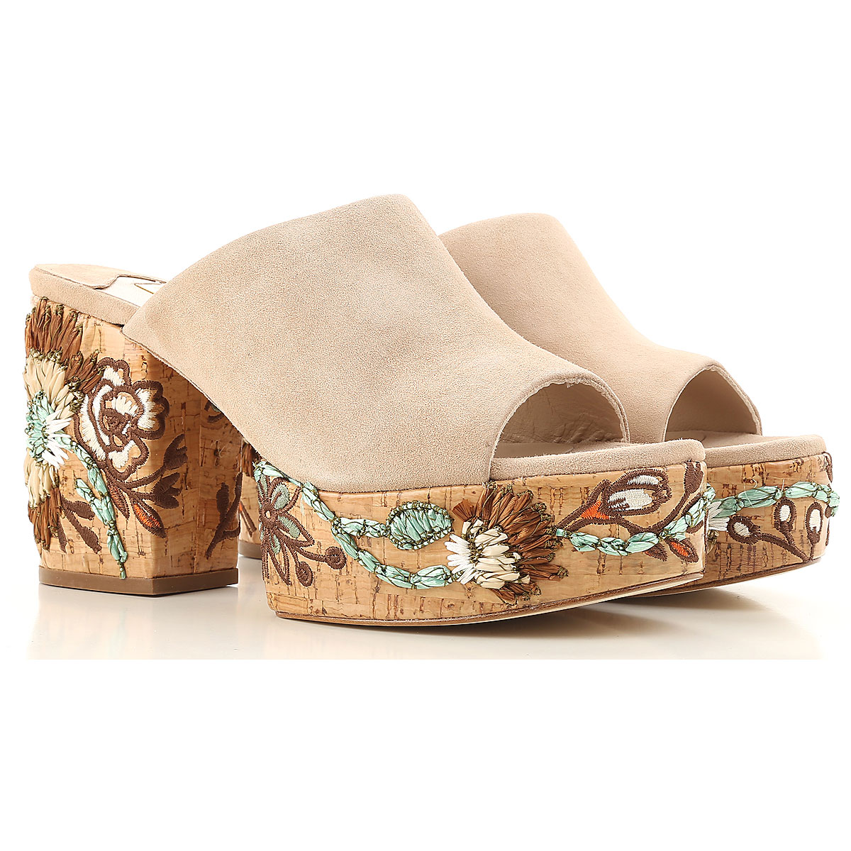 Paloma Barcelo Wedges for Women, Nude, suede, 2017, 7 8 USA-456254