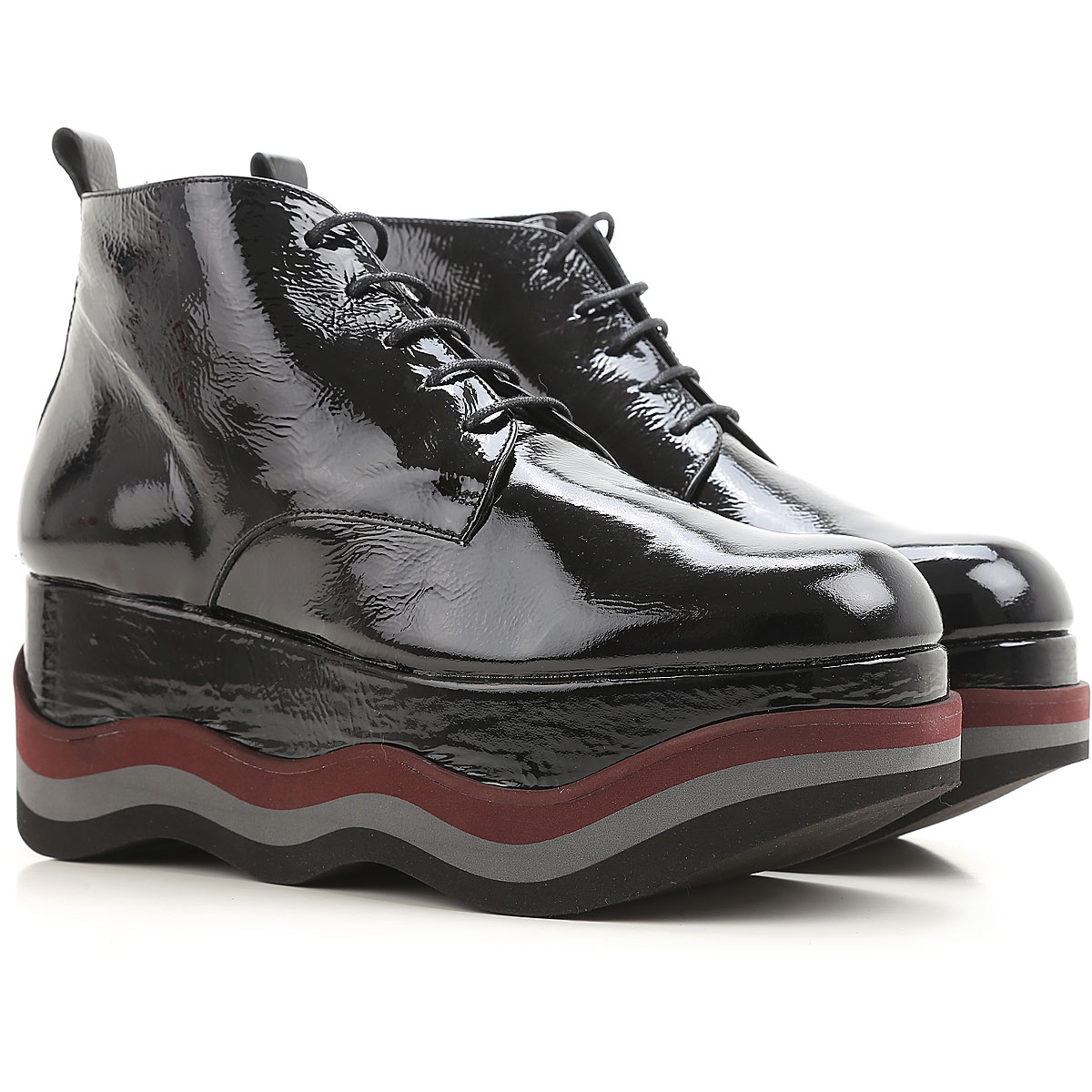 Image of Paloma Barcelo Boots for Women, Booties On Sale in Outlet, Black, Patent Leather, 2017, 6 8