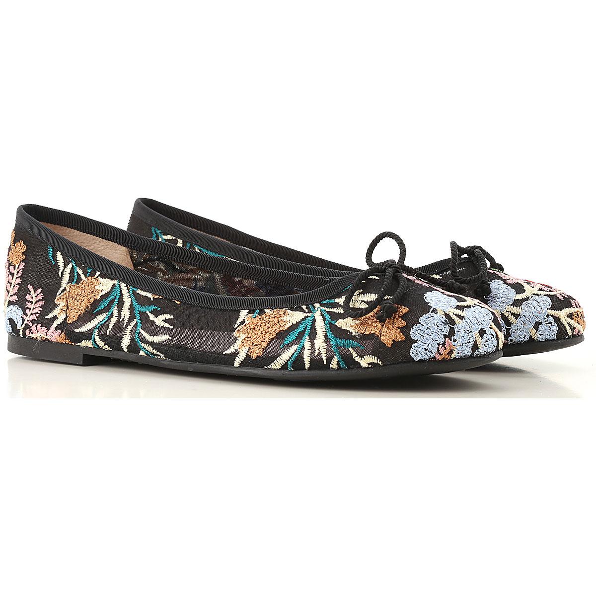 Pretty Ballerinas Ballet Flats Ballerina Shoes for Women On Sale in Outlet, Black, Nylon, 2019, 8 9