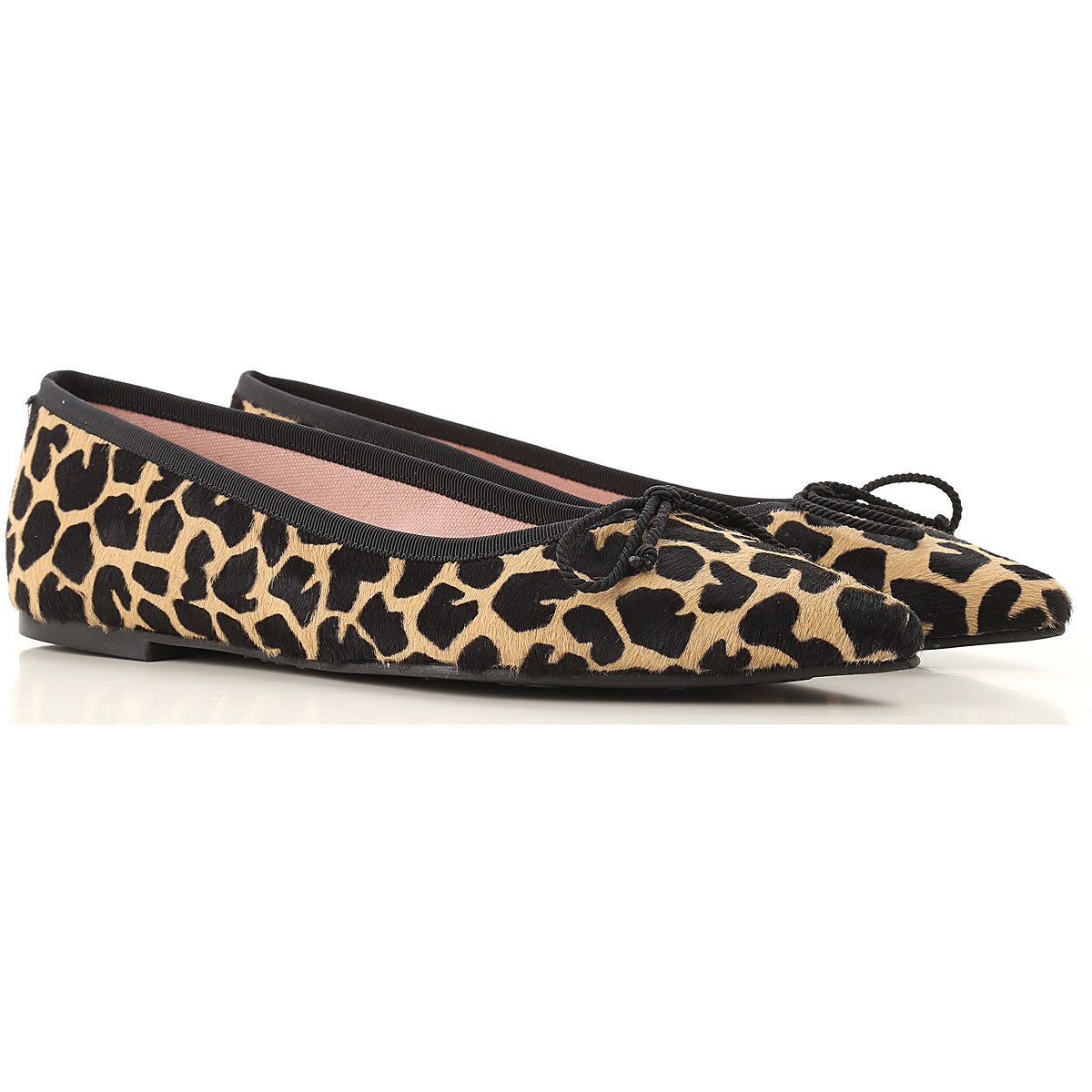 Pretty Ballerinas Ballet Flats Ballerina Shoes for Women On Sale in Outlet, Leopard, Fur, 2019, 6 7