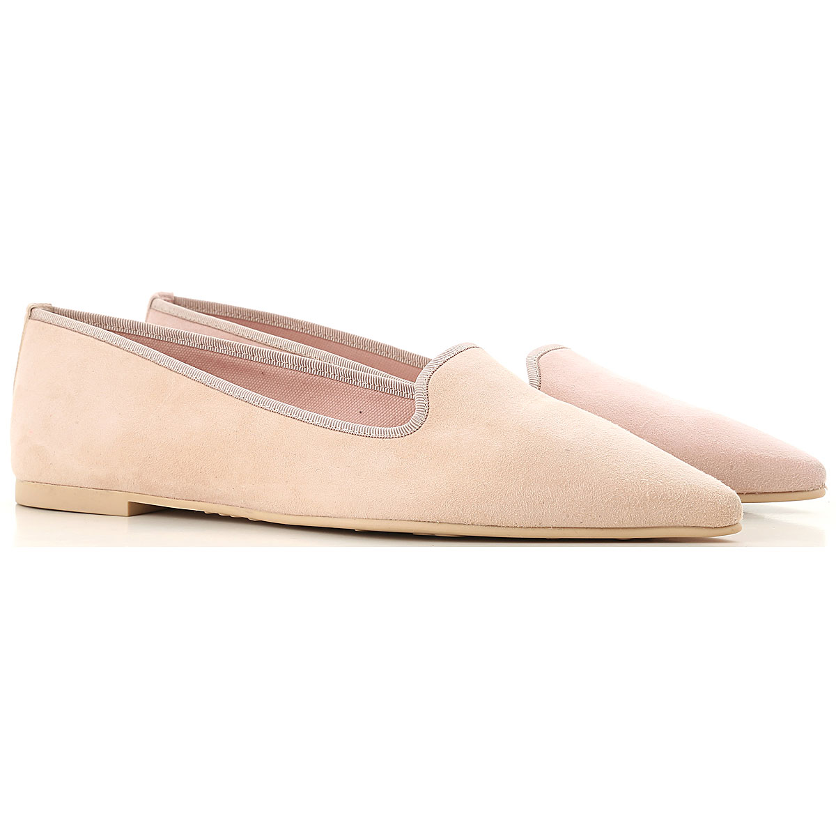 Pretty Ballerinas Ballet Flats Ballerina Shoes for Women On Sale in Outlet, Light Pink, Suede leather, 2019, 7 8