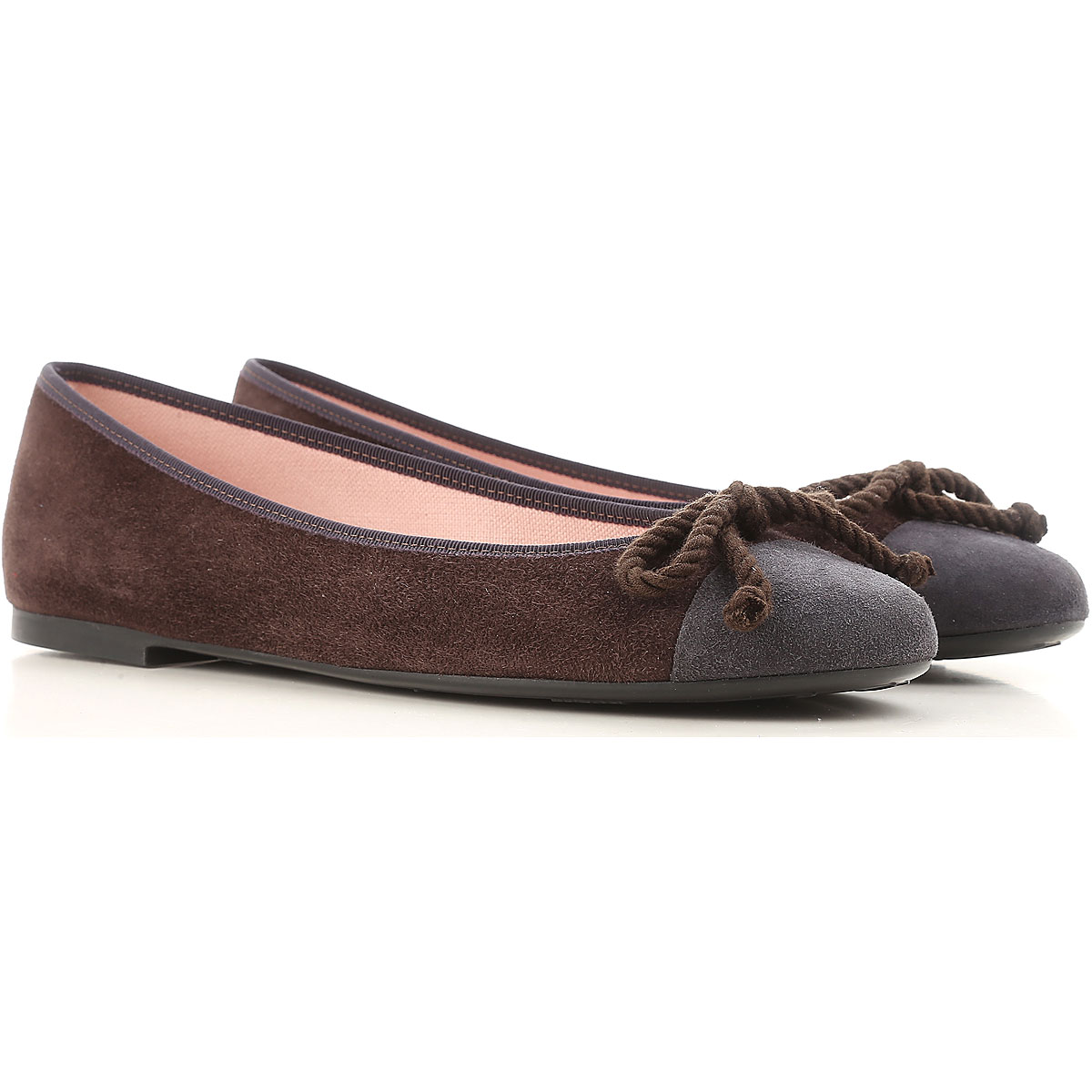Image of Pretty Ballerinas Ballet Flats Ballerina Shoes for Women On Sale in Outlet, Brown, Suede leather, 2017, 10 6