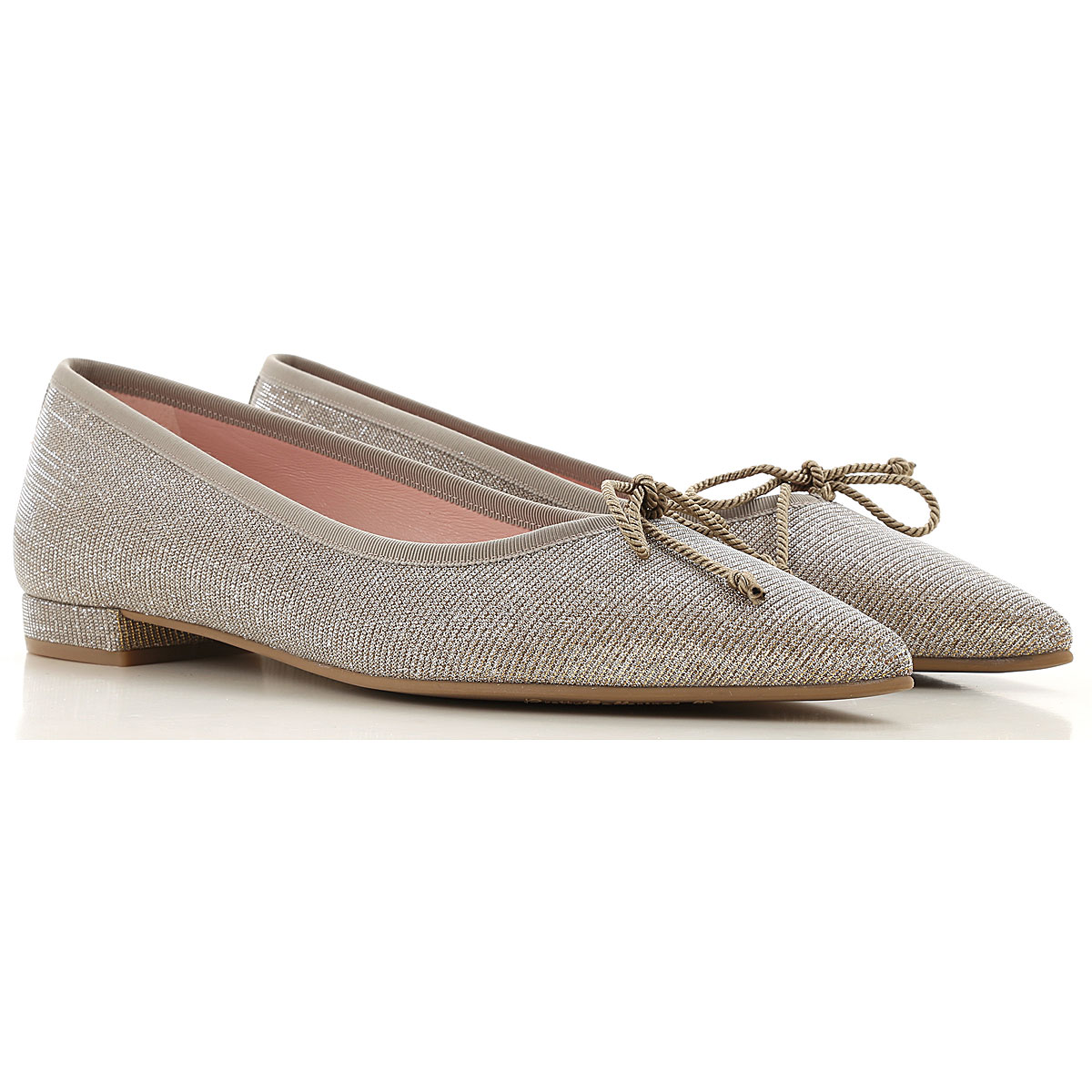 Pretty Ballerinas Ballet Flats Ballerina Shoes for Women On Sale in Outlet, Beige, Leather, 2019, 6 8