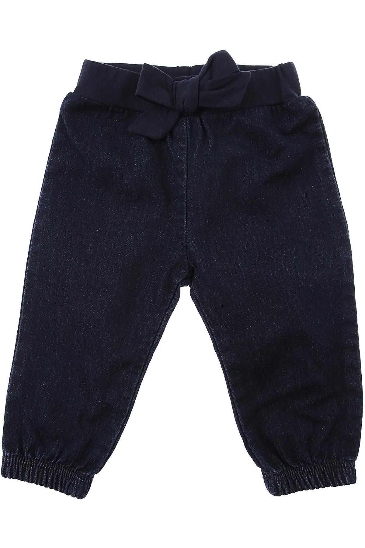Petit Bateau Baby Pants for Girls On Sale, Blue Denim, Cotton, 2019, 12M 18M 6M