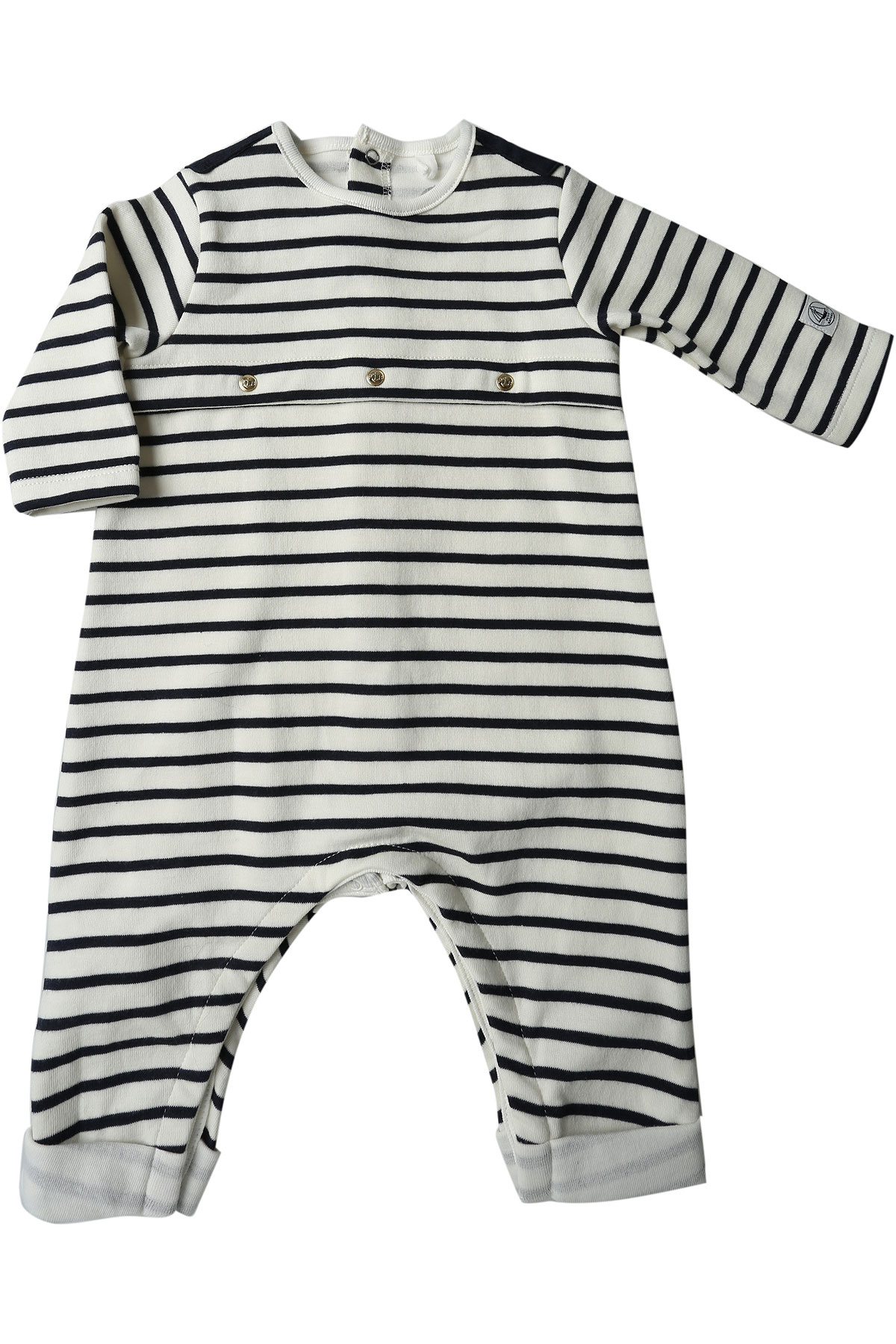 Petit Bateau Baby Bodysuits & Onesies for Boys, White, Cotton, 2017, 3M 6M USA-447879
