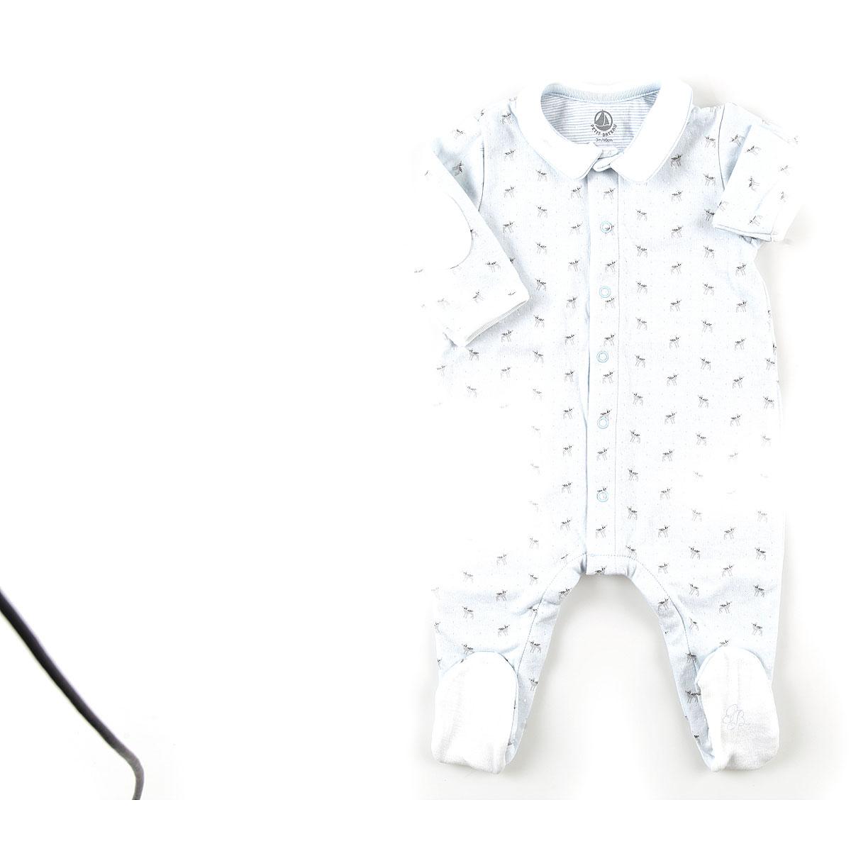 Image of Petit Bateau Baby Bodysuits & Onesies for Boys, Sky Blue, Cotton, 2017, 1M 3M 6M