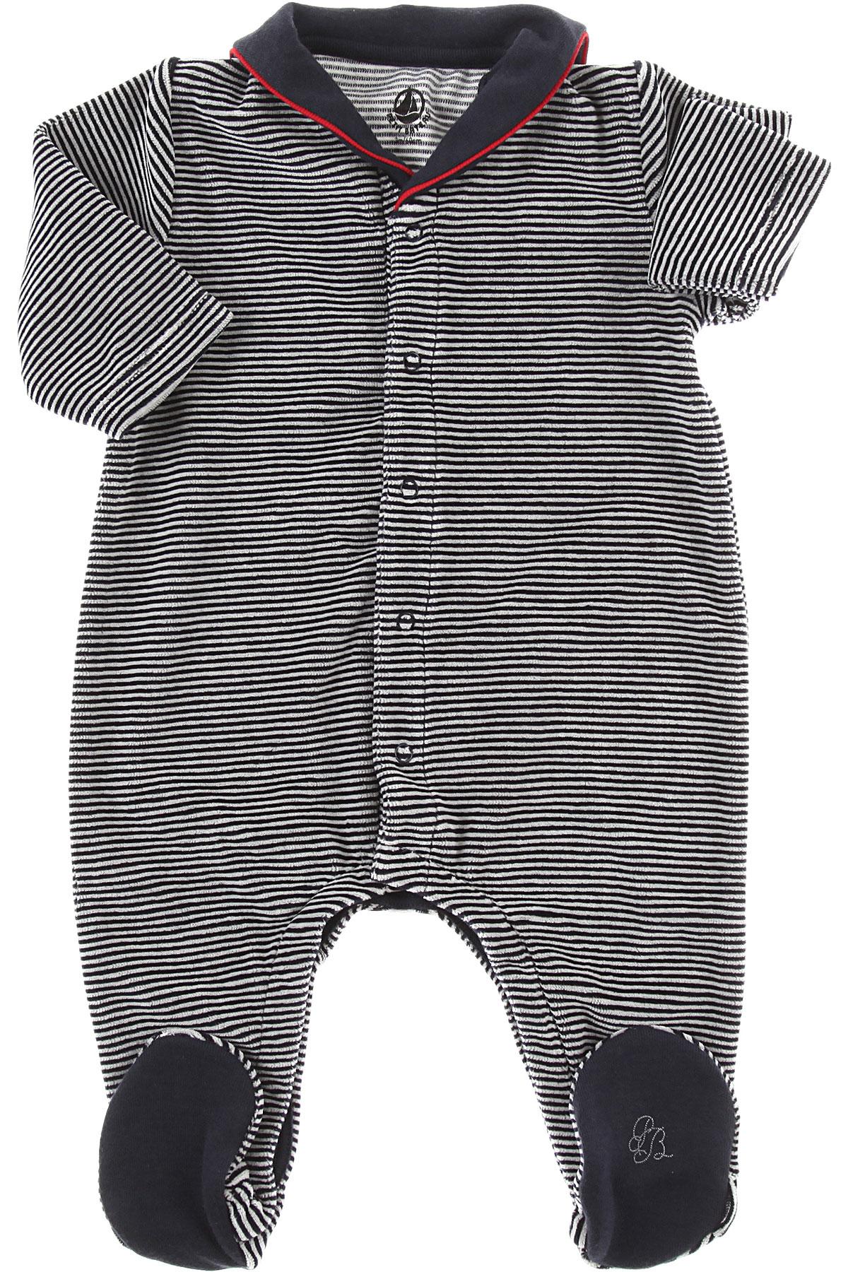 Image of Petit Bateau Baby Bodysuits & Onesies for Boys, Blue, Cotton, 2017, 1M 3M 9M