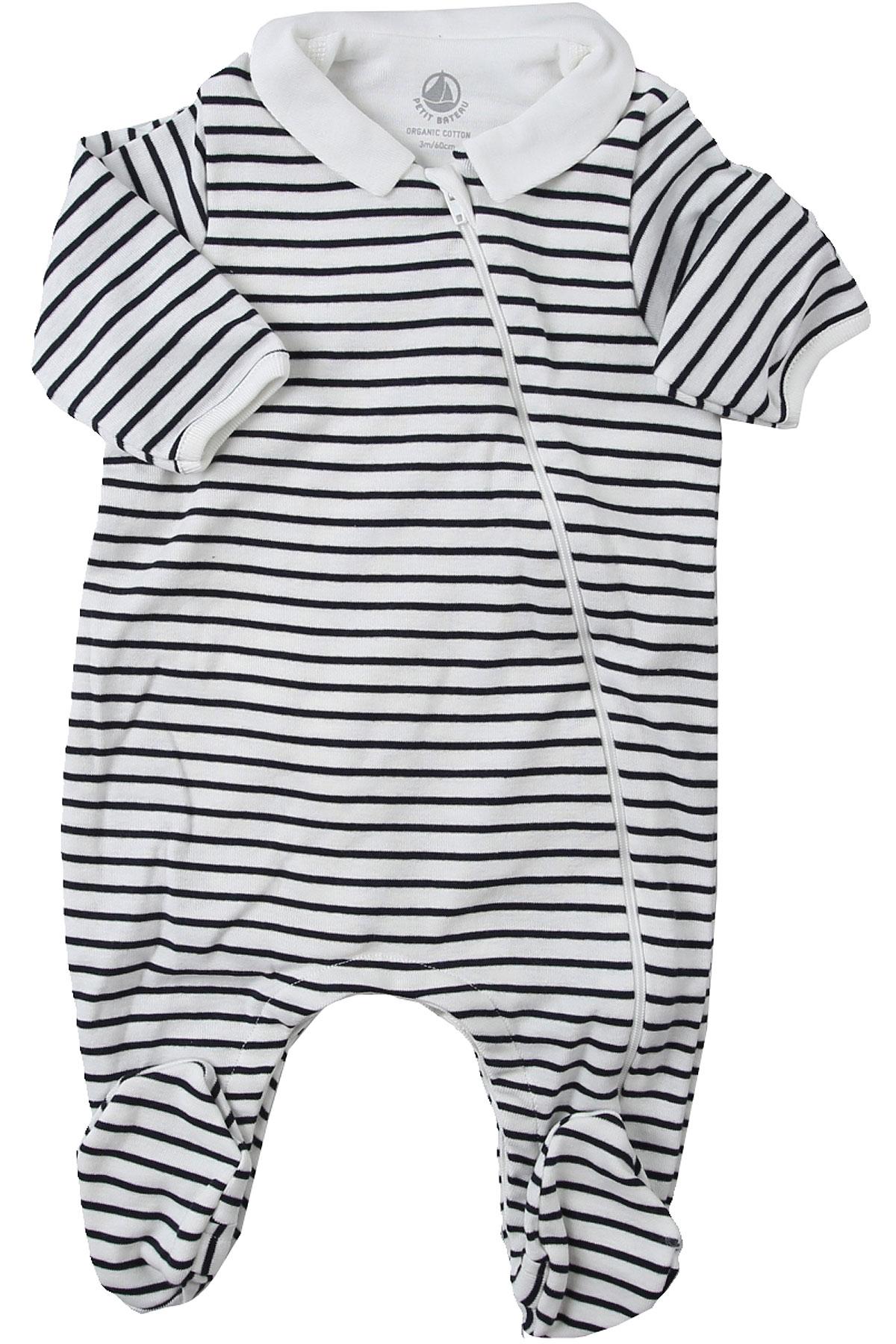 Petit Bateau Baby Bodysuits & Onesies for Boys On Sale, White, Cotton, 2019, 3M 6M