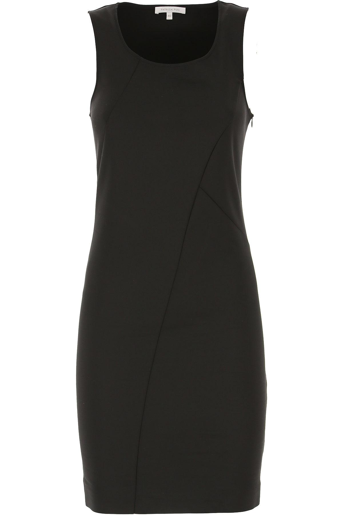 Patrizia Pepe Dress for Women, Evening Cocktail Party On Sale, Black, Cotton, 2019, 2 4 6 8