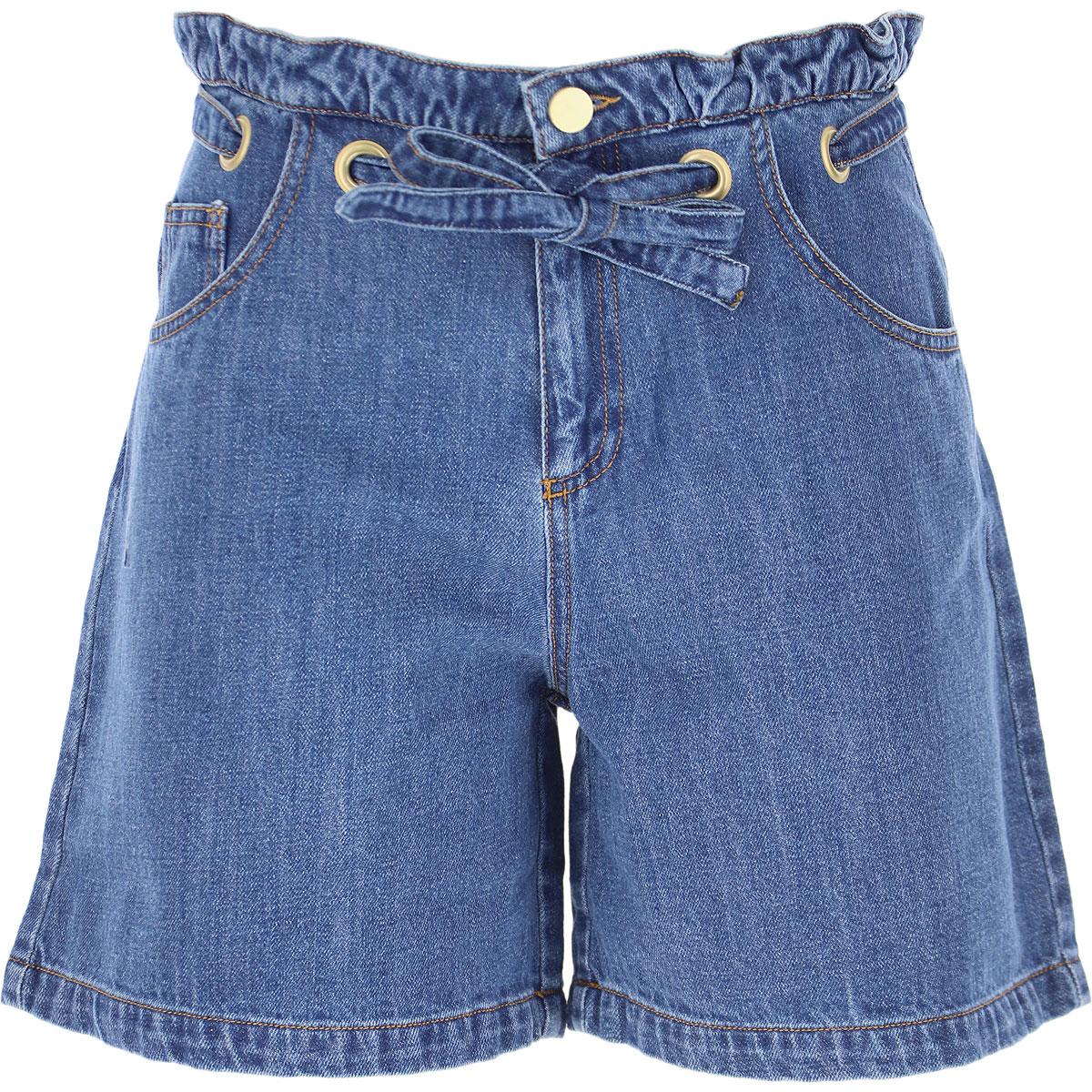 Philosophy di Lorenzo Serafini Kids Shorts for Girls On Sale, Blue Denim, Cotton, 2019, 10Y 12Y