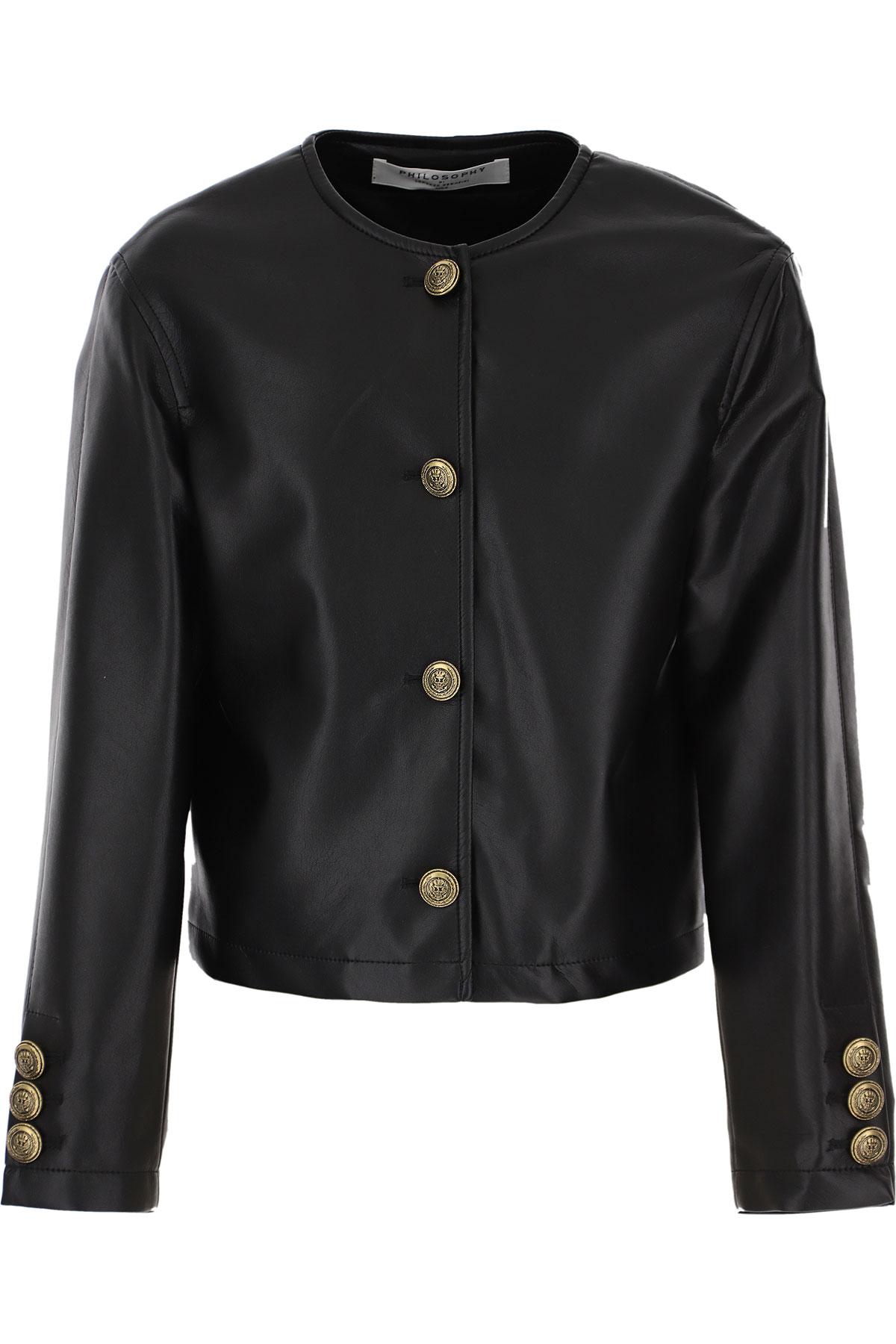 Philosophy di Lorenzo Serafini Kids Jacket for Girls On Sale, Black, polyurethane, 2019, L M XL