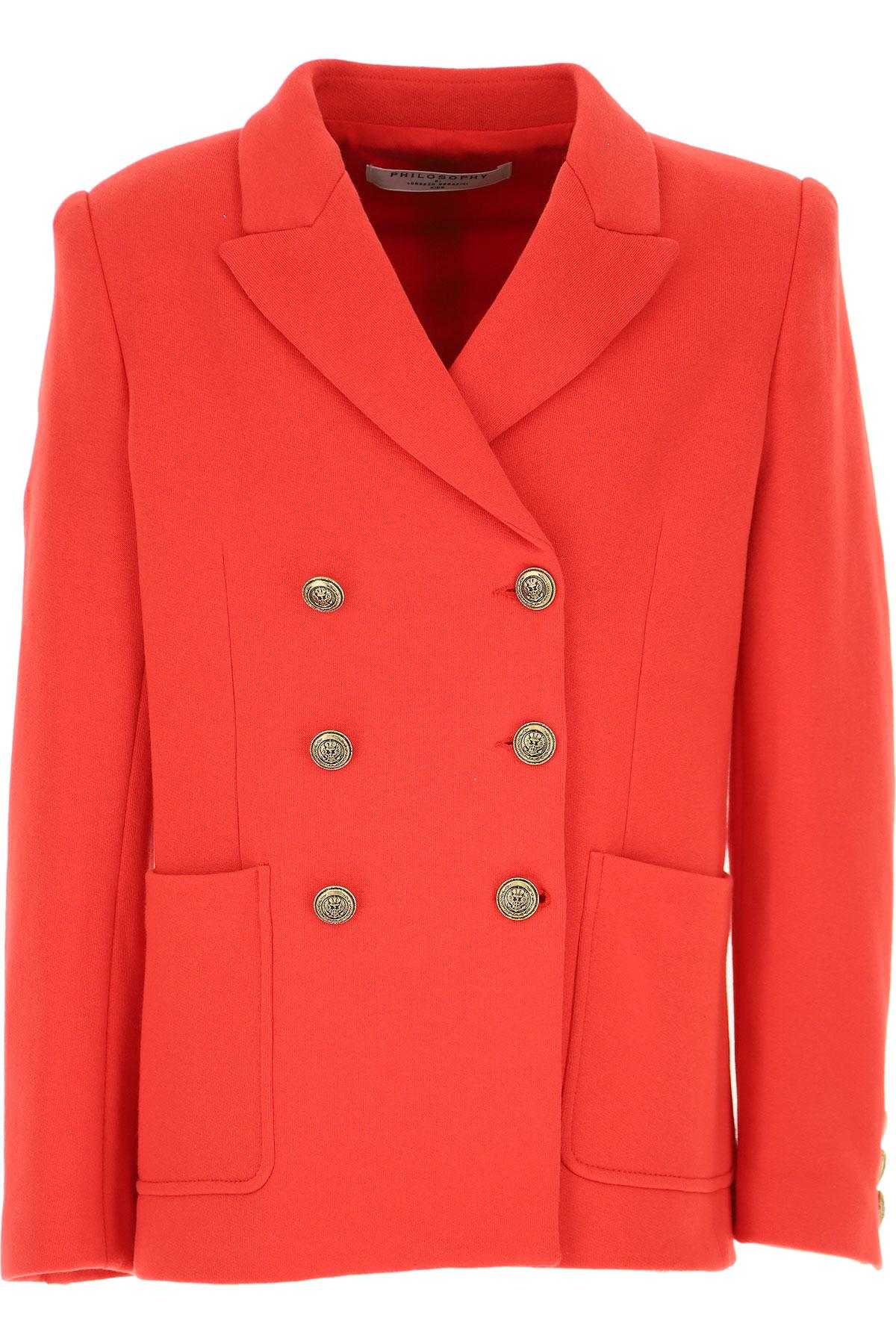 Philosophy di Lorenzo Serafini Kids Jacket for Girls On Sale, Red, Cotton, 2019, M XL