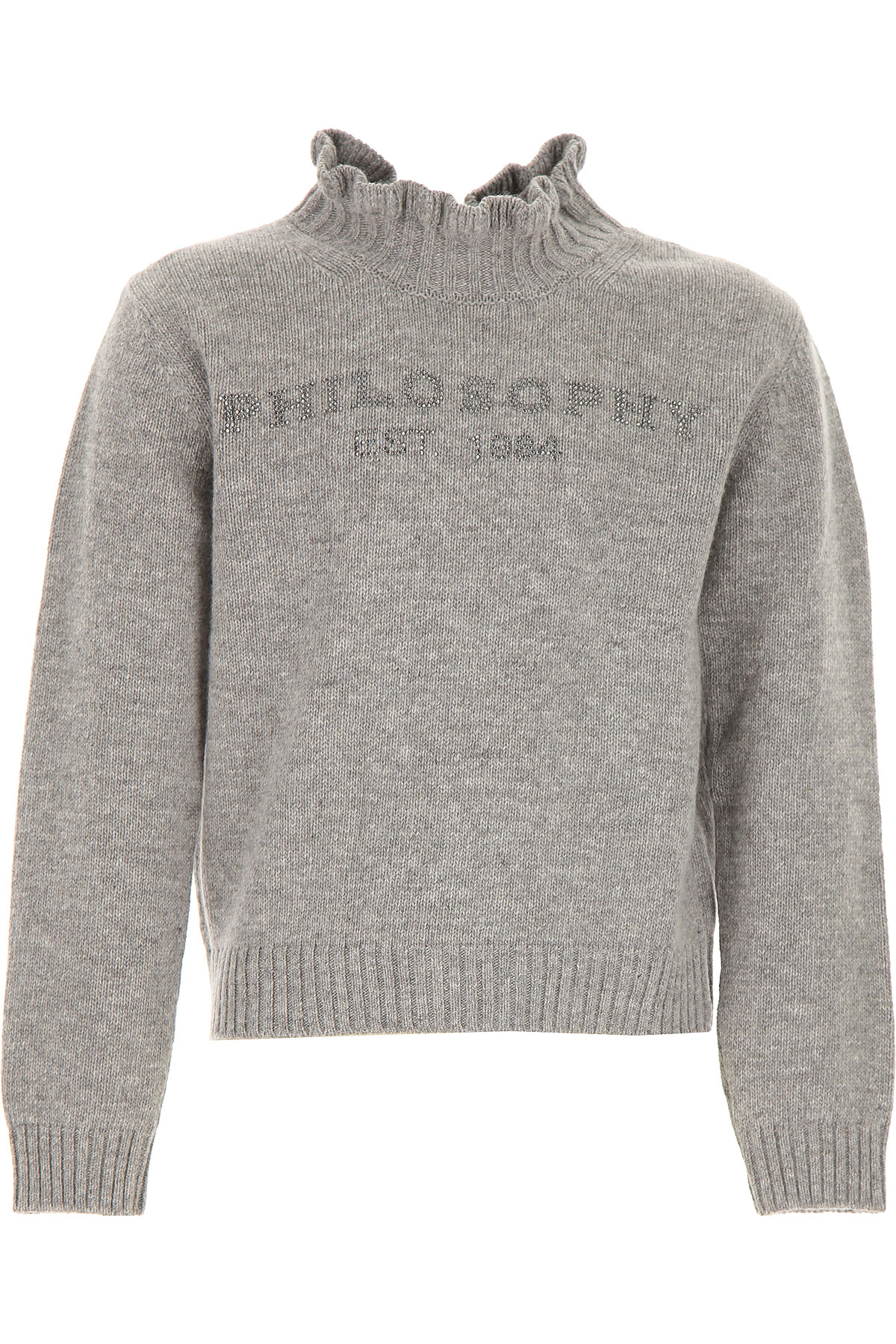 Philosophy di Lorenzo Serafini Kids Sweaters for Girls On Sale, Grey, Merinos Wool, 2019, 6Y XL