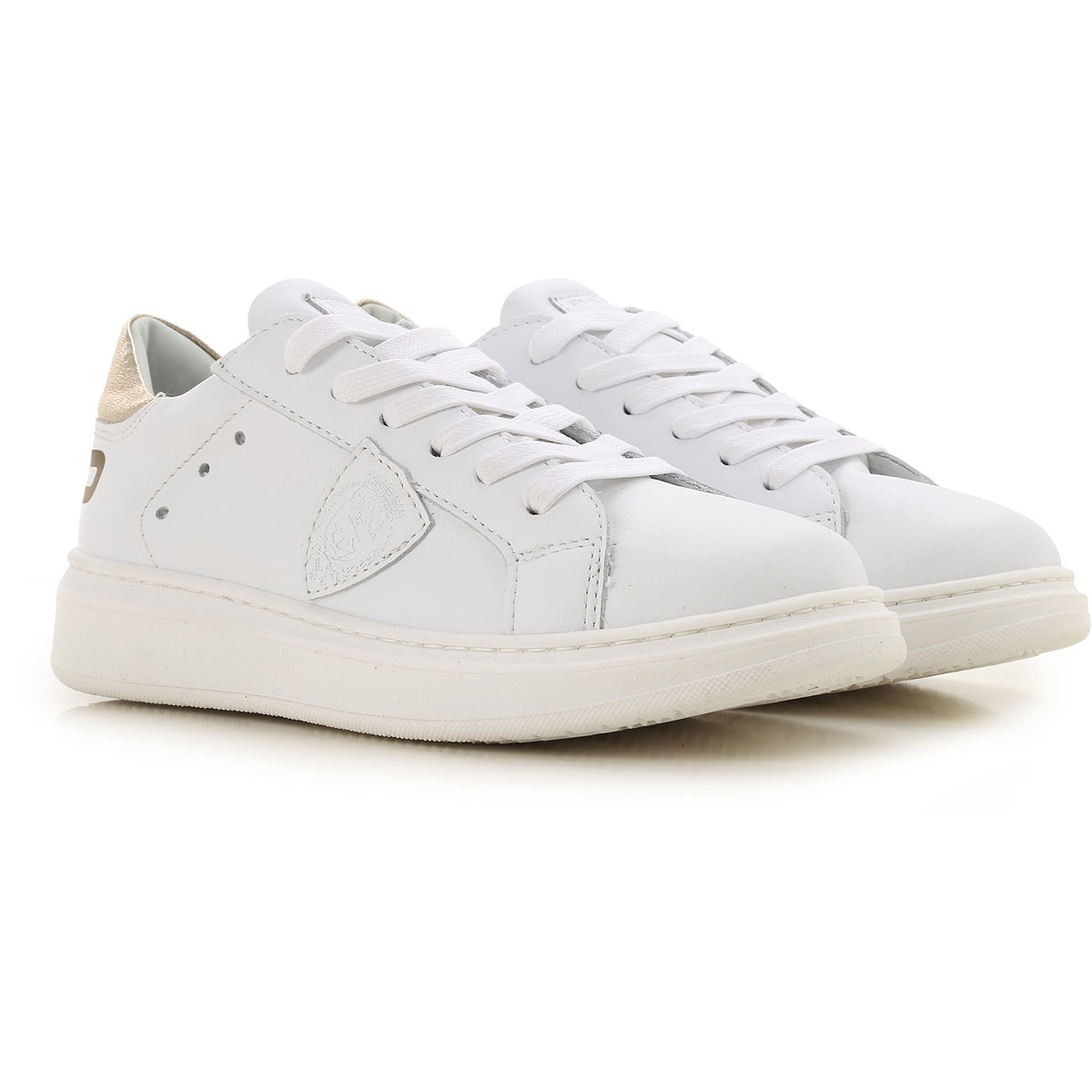 Philippe Model Kids Shoes for Girls On Sale in Outlet, White, Leather, 2019, 32 33