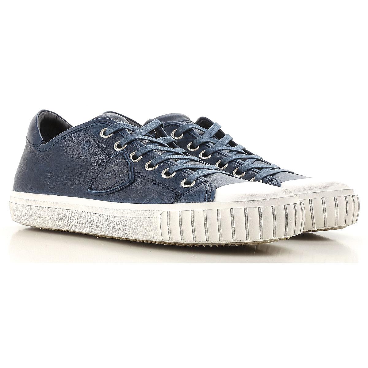 Philippe Model Sneaker für Herren, Tennisschuh, Turnschuh, Blau, Leder, 2019, 40 41 42
