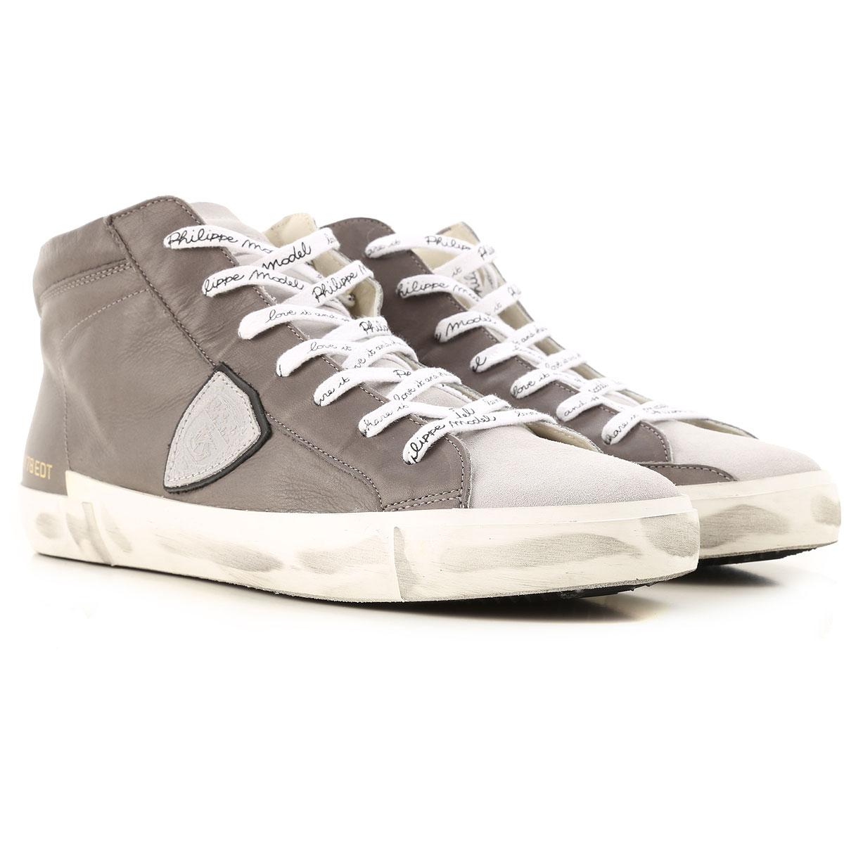 Philippe Model Sneakers for Men, Dark Grey, Leather, 2019, 8 9