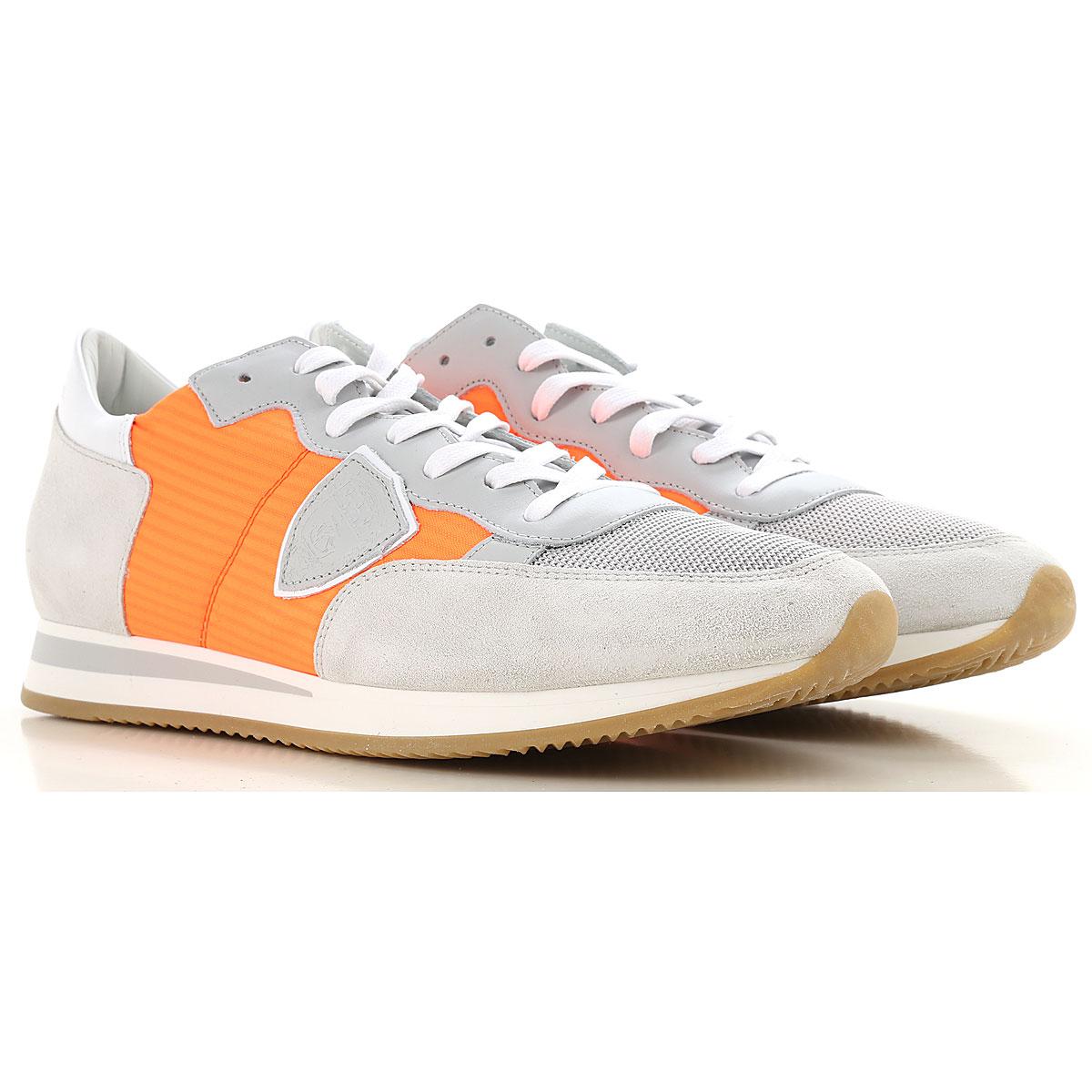 Philippe Model Sneakers voor Mannen In Aanbieding, Fluo Oranje, Suede, 2019, 40 41 42 43 44 45 46