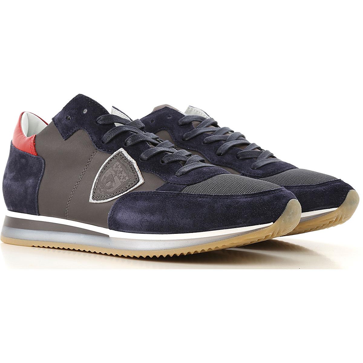 Philippe Model Sneaker Homme Pas cher en Soldes, Gris acier foncé, Cuir, 2019, 40 43 45 46