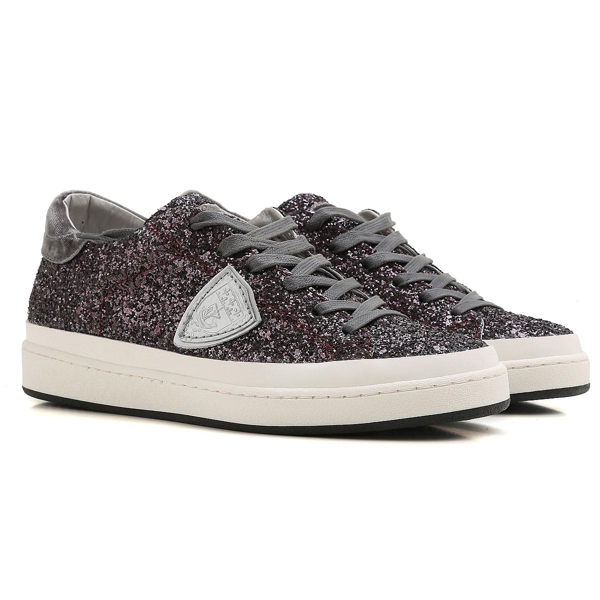 Philippe Model Sneakers for Women On Sale, Plum, Glitter, 2019, 3.5 4.5 5.5 6.5 8.5 9.5