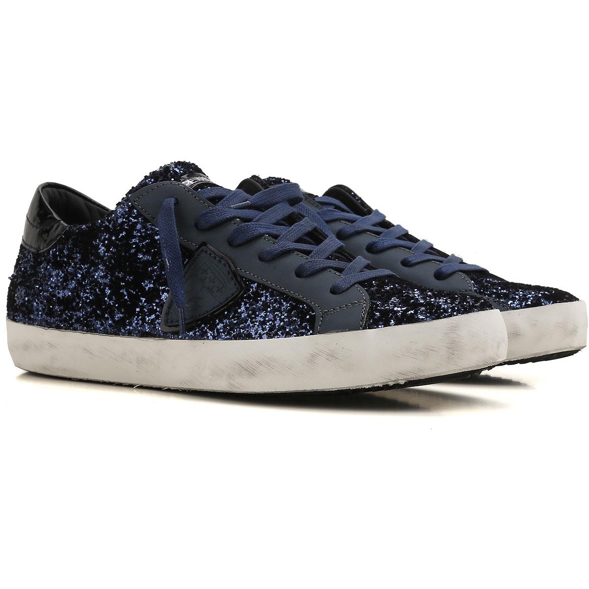 Philippe Model Zapatillas Deportivas de Mujer, Deportivas Baratos en Rebajas Outlet, Azul Noche Oscura, Terciopelo, 2019, 36 37 40