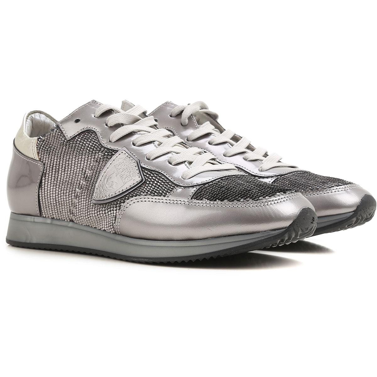 Philippe Model Sneaker Femme , Argent, Cuir Verni, 2017, 37 38 40