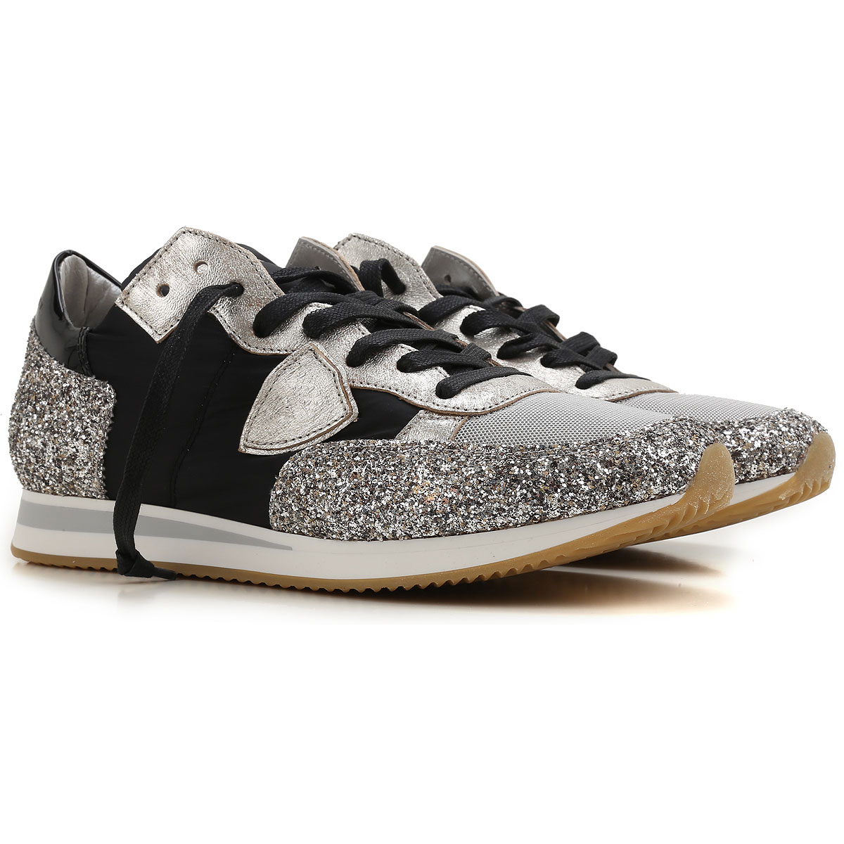 Philippe Model Sneakers voor Dames, Zilver, Leder, 2019, 36 37 39 40