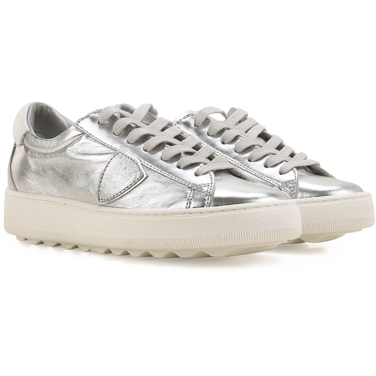 Philippe Model Sneakers for Women, Madeleine, Silver, Laminated Leather, 2019, 4.5 5.5 8.5