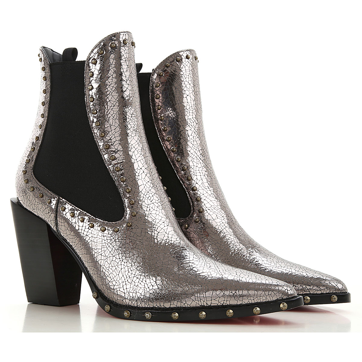 Pinko Chelsea Boots for Women On Sale, Silver, Crackle Leather, 2019, 10 6 7 9
