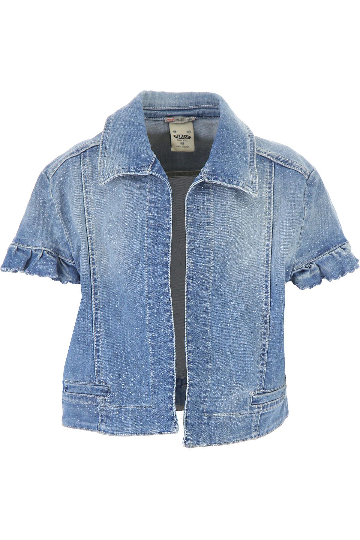 Image of Please Kids Jacket for Girls On Sale, Blue Denim, Cotton, 2017, 14Y 16Y
