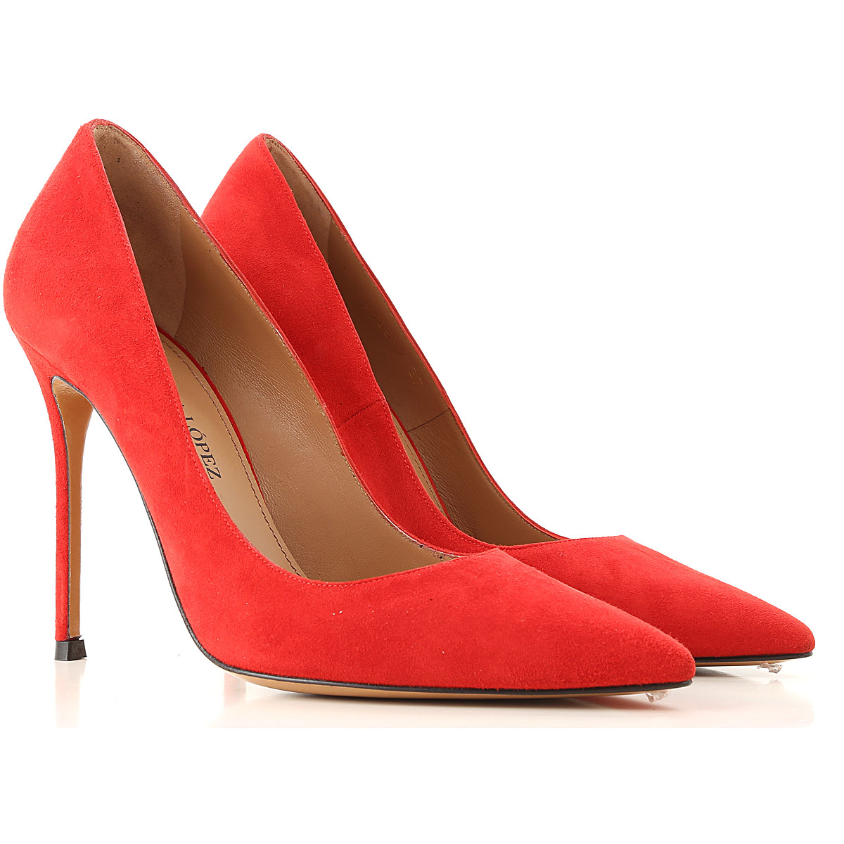 Image of Pura Lopez Pumps & High Heels for Women, Red, Suede leather, 2017, 7 8
