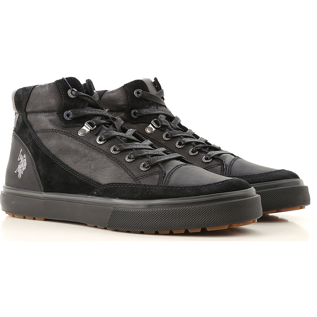 Image of U.S. Polo Sneakers for Men, Black, Leather, 2017, UK 6 - EUR 40 - US 7 UK 7 - EUR 41 - US 8 UK 8 - EUR 42 - US 9 UK 9 - EUR 43 - US 10