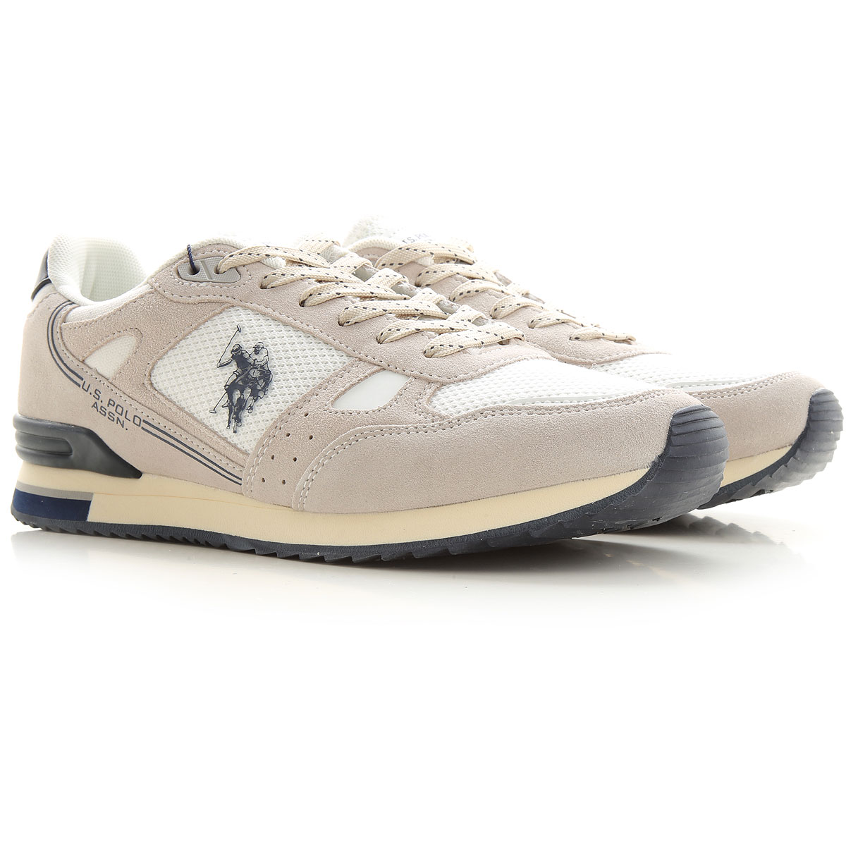 U.S. Polo Sneakers for Men On Sale in Outlet, White, Nylon Mesh, 2019, 8