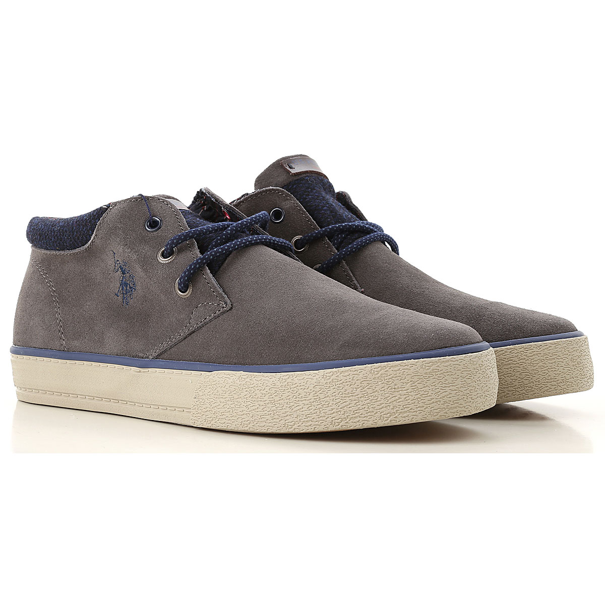 Image of U.S. Polo Sneakers for Men, Anthracite Grey, Suede leather, 2017, UK 6 - EUR 40 - US 7 UK 7 - EUR 41 - US 8 UK 8 - EUR 42 - US 9 UK 9 - EUR 43 - US 10 UK 10 - EUR 44 - US 11
