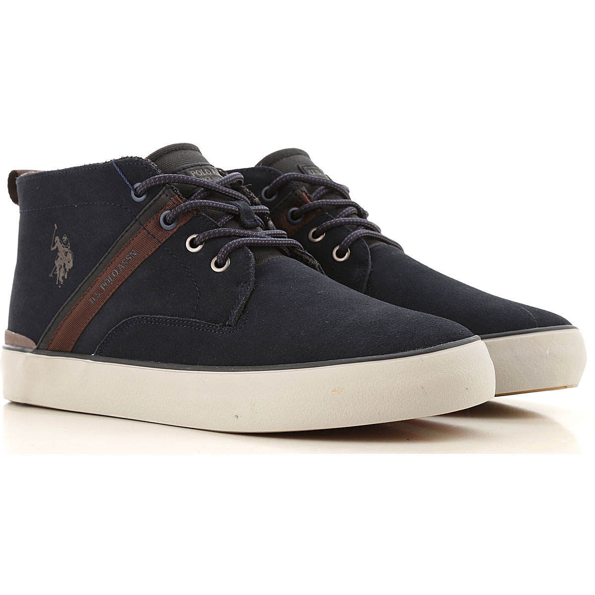 U.S. Polo Desert Boots Chukka for Men On Sale, Blu Navy, Suede leather, 2019, 10 7 8