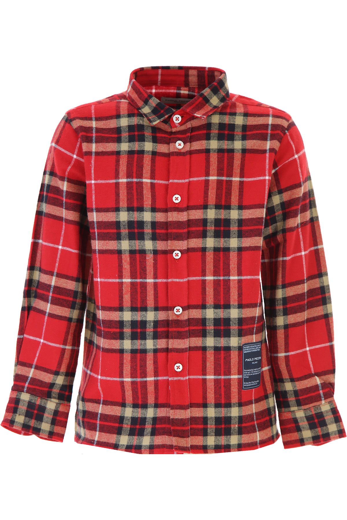 Paolo Pecora Kids Shirts for Boys On Sale, Red, Cotton, 2019, 16Y 6Y