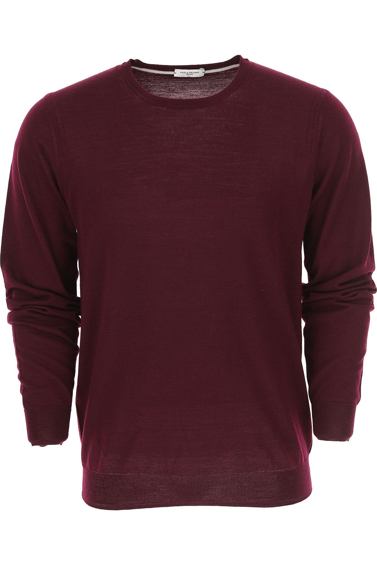 Paolo Pecora Sweater for Men Jumper On Sale, Bordeaux Wine, Wool, 2017, L M XL