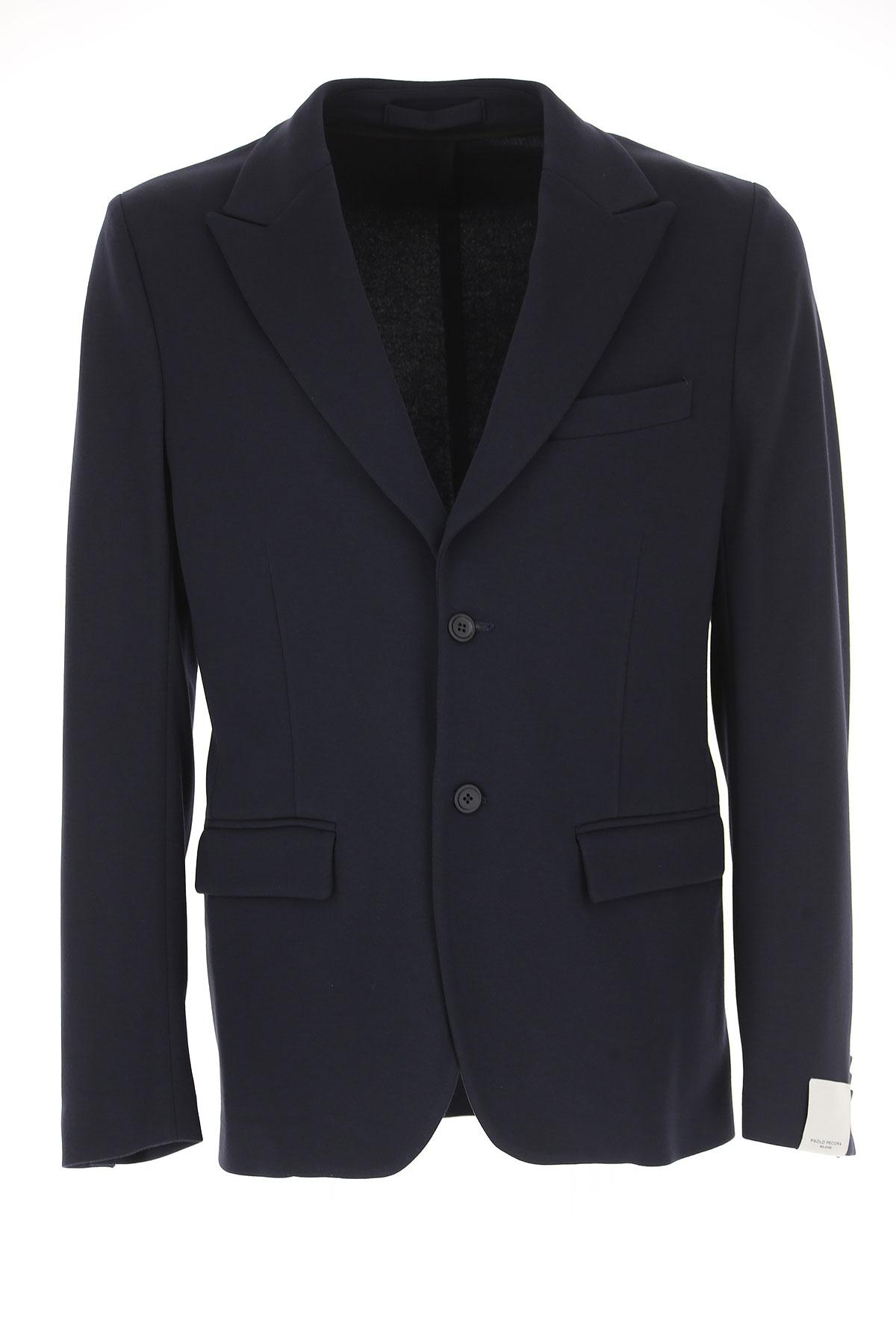 Image of Paolo Pecora Blazer for Men, Sport Coat, Dark Blue, Viscose, 2017, L M S