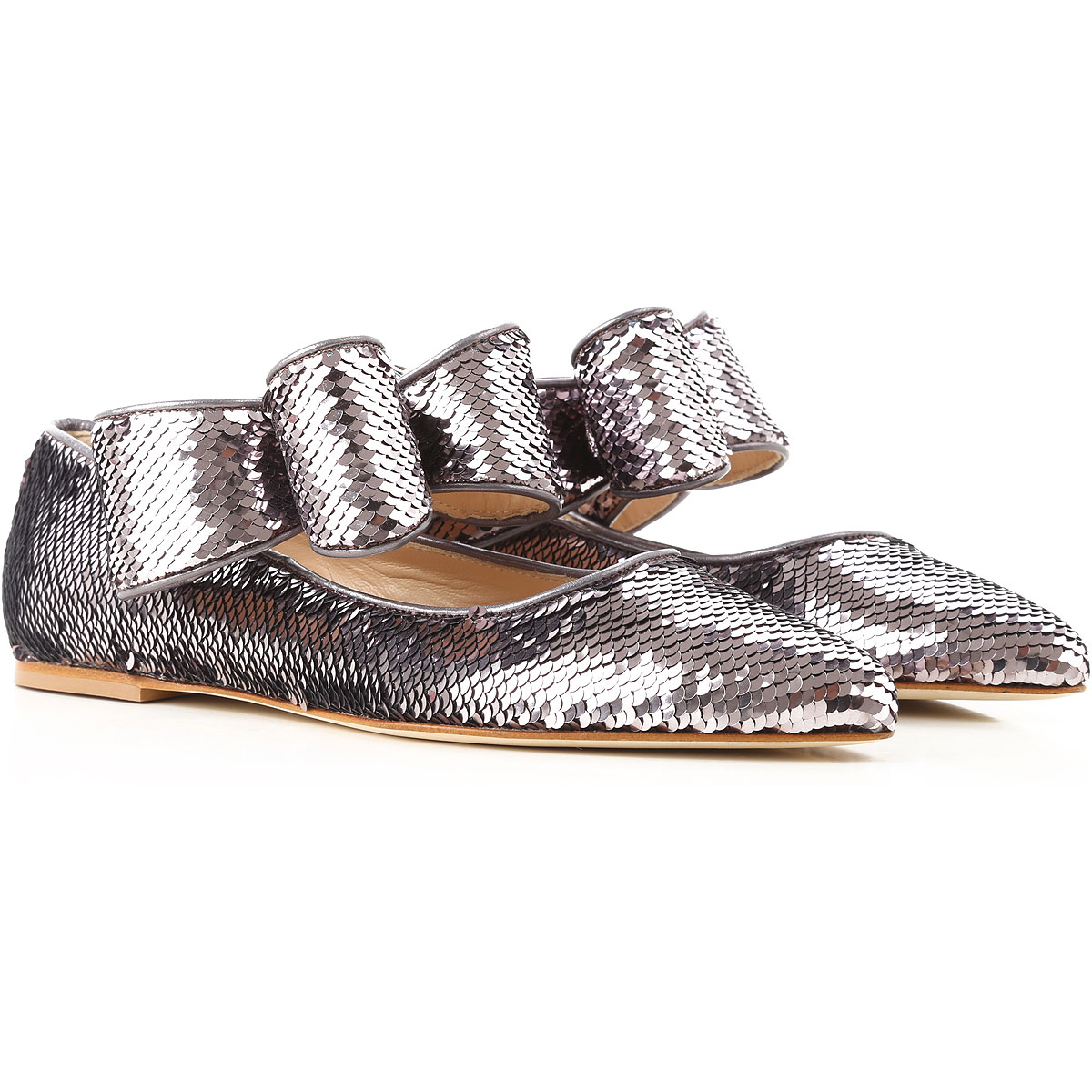 Image of Polly Plume Ballet Flats Ballerina Shoes for Women, Silver, paillettes, 2017, 6 7 8 9