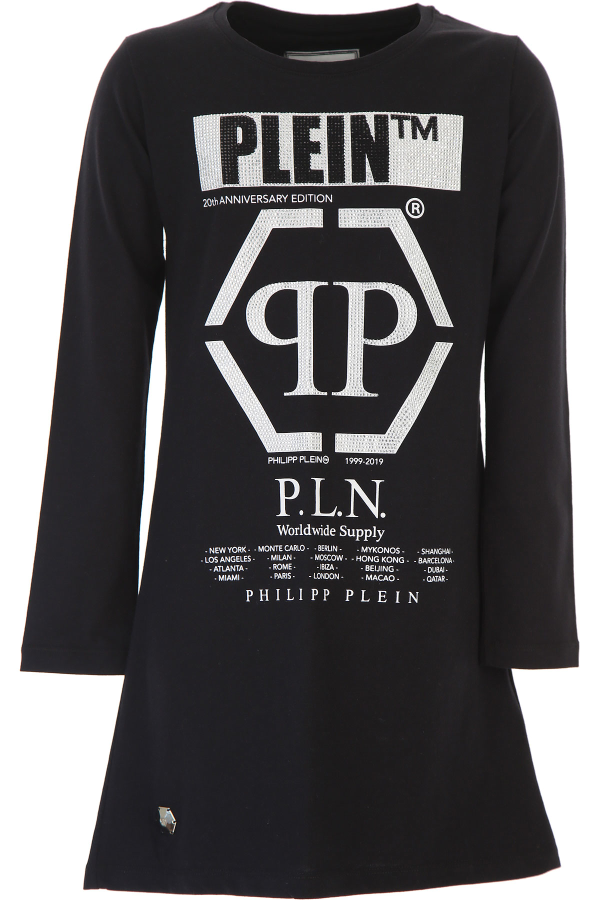 Philipp Plein Girls Dress On Sale, Black, Cotton, 2019, 10Y 12Y 16Y 8Y