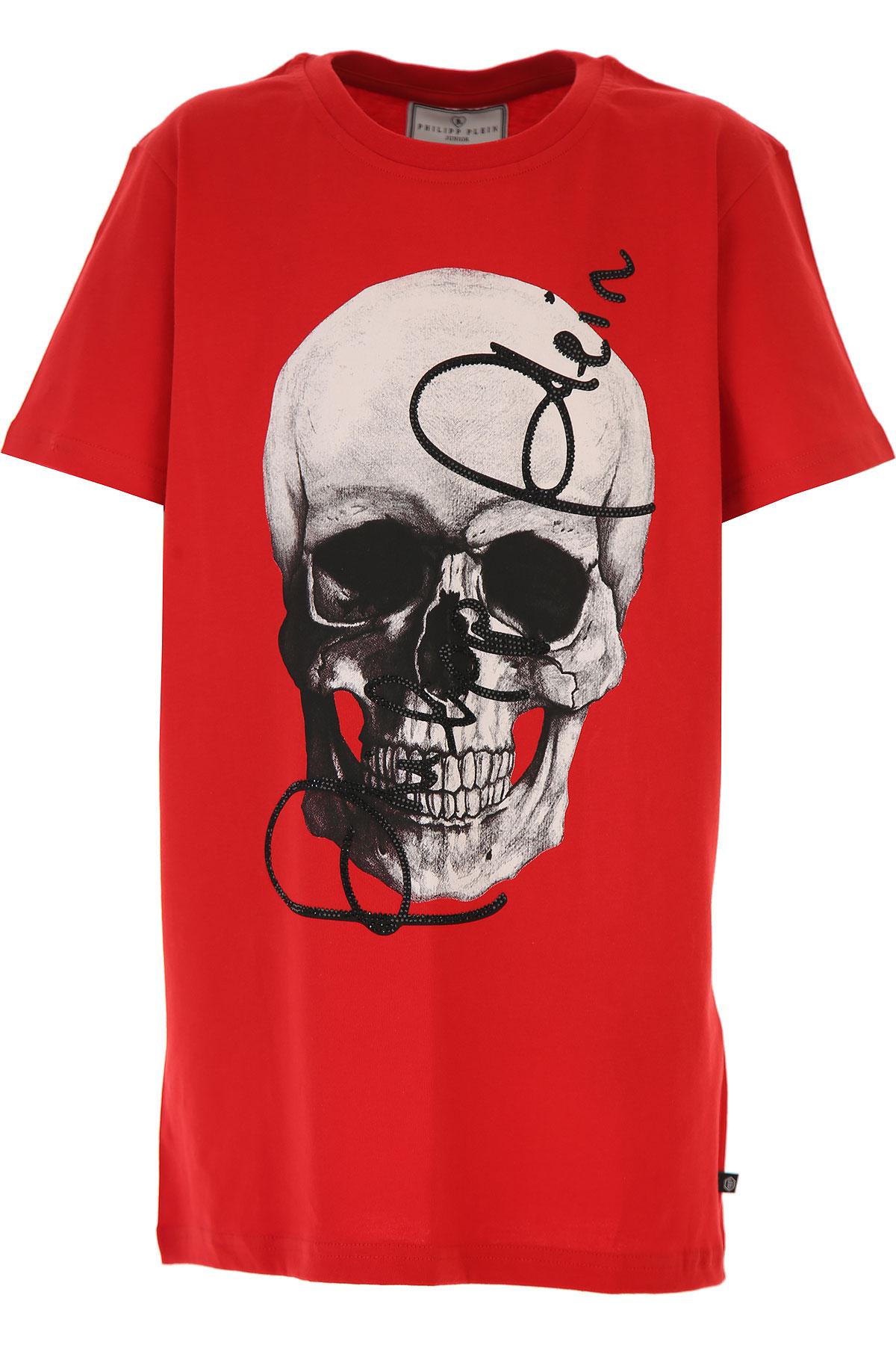 Philipp Plein Kids T-Shirt for Boys On Sale, Red, Cotton, 2019, 14Y 16Y