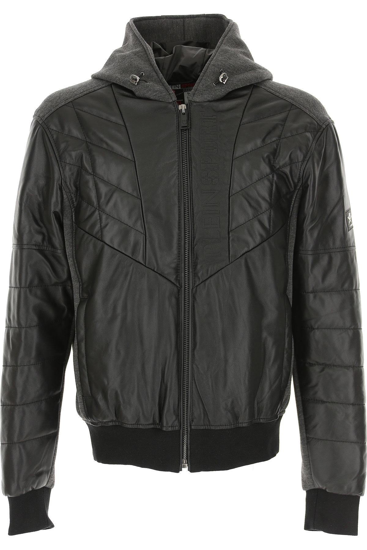 Philipp Plein Down Jacket for Men, Puffer Ski Jacket On Sale, Black, Leather, 2019, L XL XXL
