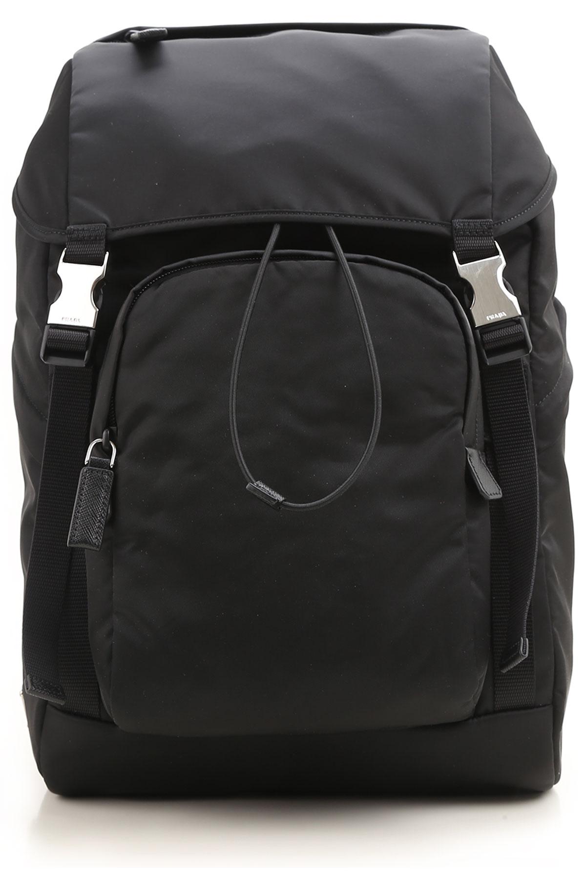 Image of Prada Backpack for Men, Black, Nylon, 2017