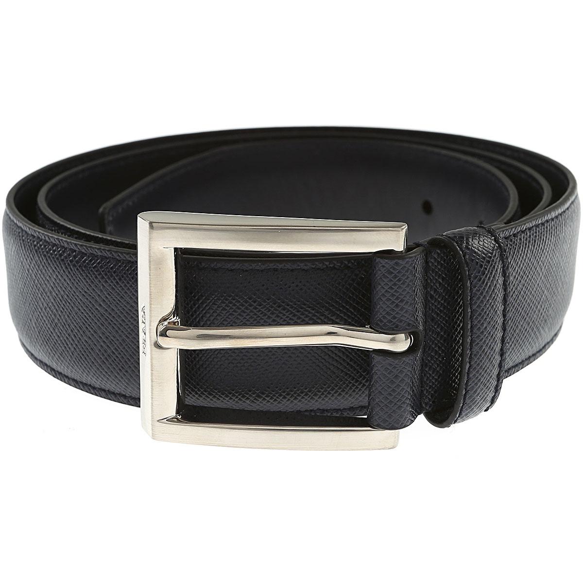 Prada Belts On Sale, Blue Ink, Saffiano, 2019, 36 38 40