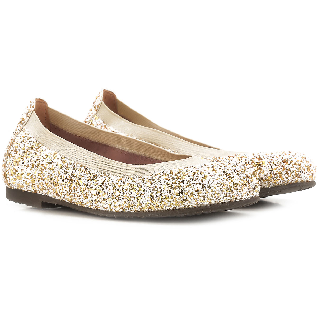 Image of Pretty Ballerinas Kids Shoes for Girls On Sale in Outlet, Cream, Glitter, 2017, 31 32 33