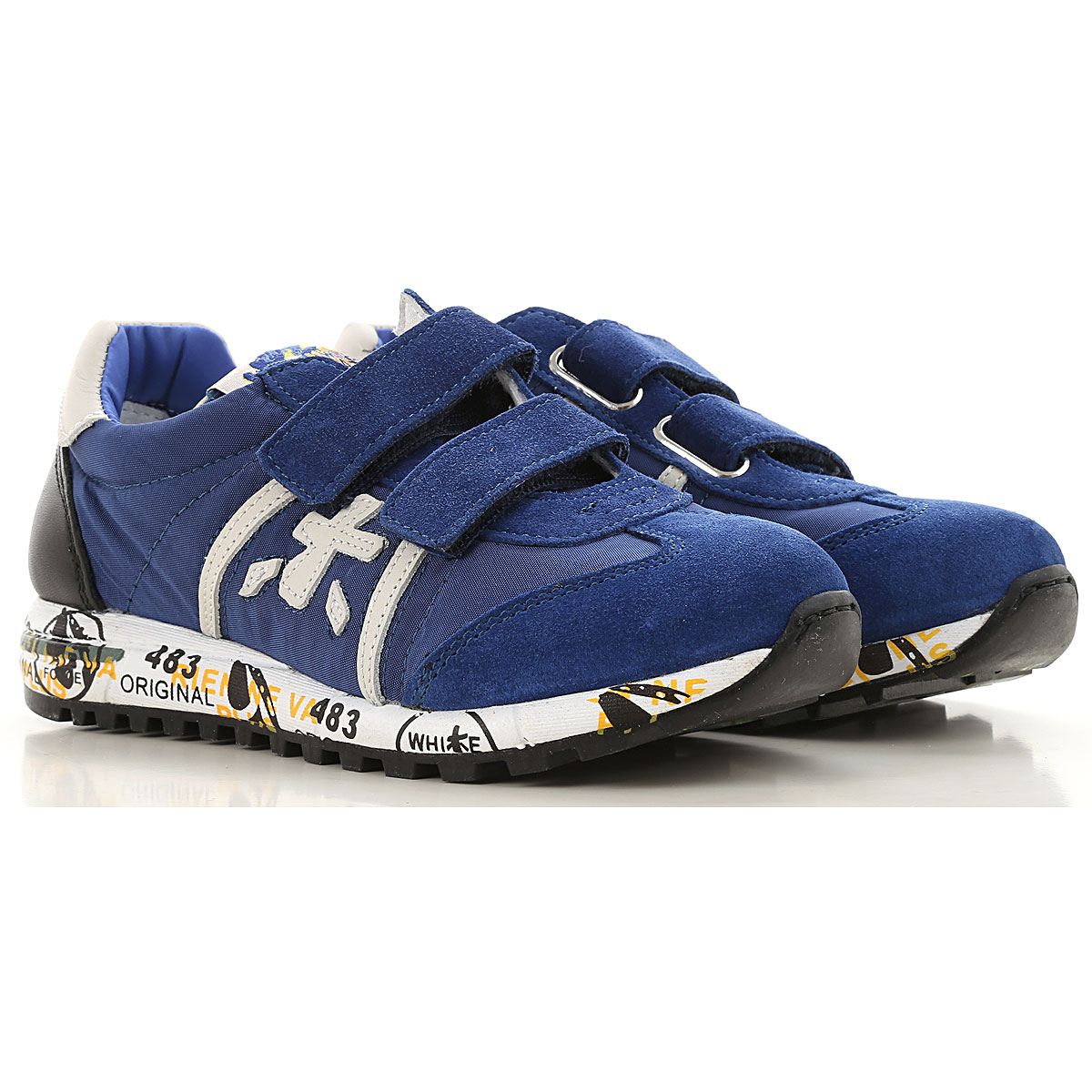 Image of Premiata Kids Shoes for Boys, Blue, Fabric, 2017, 28 29 30 31 32 33 34 35 36 37 38