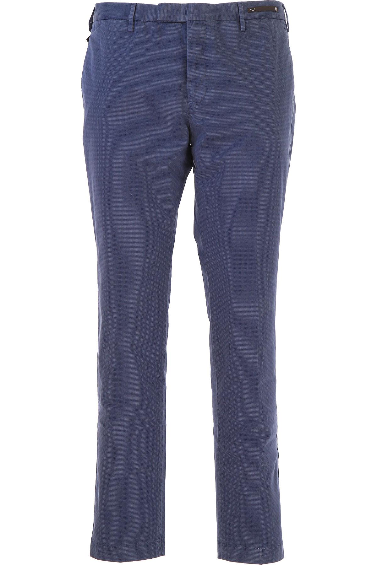 PT01 Pantalon Homme Pas cher en Soldes, Bleu marine, Coton, 2019, 48 50 54