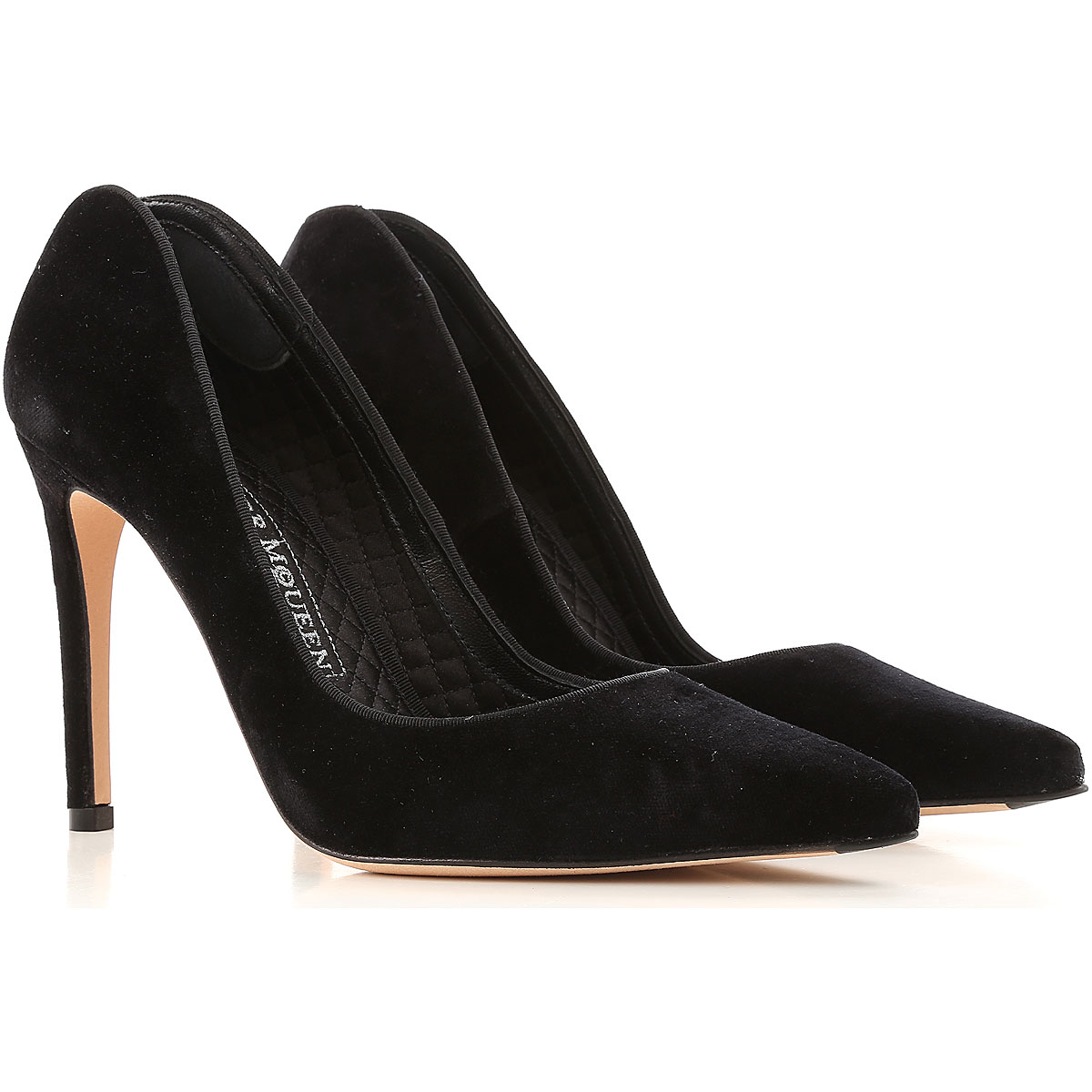 Image of Alexander McQueen Pumps & High Heels for Women On Sale, Black, Velvet, 2017, 10 5 6.5 7 8 8.5 9