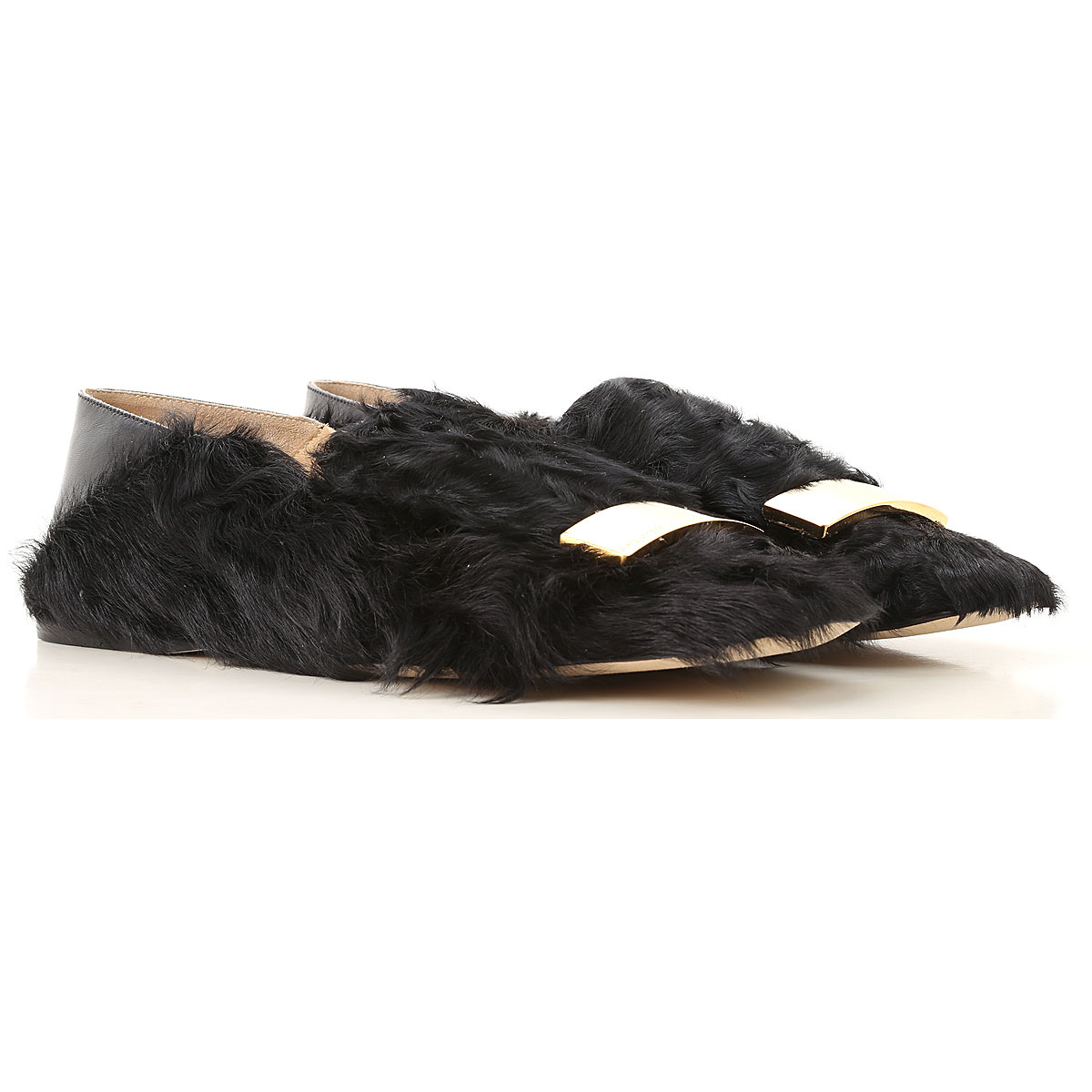 Image of Sergio Rossi Ballet Flats Ballerina Shoes for Women, Black, Wool, 2017, 10 6 7 8 9