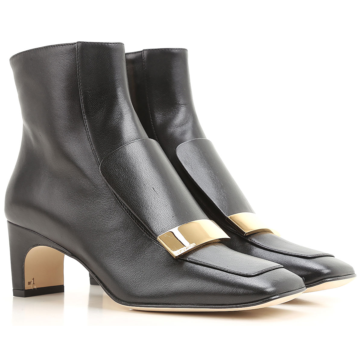 Image of Sergio Rossi Boots for Women, Booties, Black, Leather, 2017, 10 6.5 7 8.5