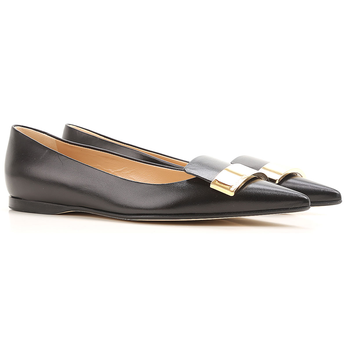 Image of Sergio Rossi Ballet Flats Ballerina Shoes for Women, Black, Leather, 2017, 6 7 8 9.5
